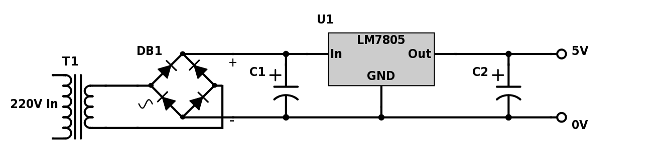5v Power Supply Using Lm7805