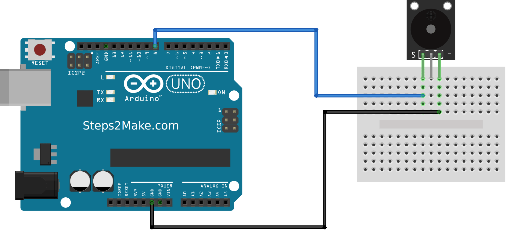 Arduino UNOSmall passive buzzer module KY006  Steps2Make