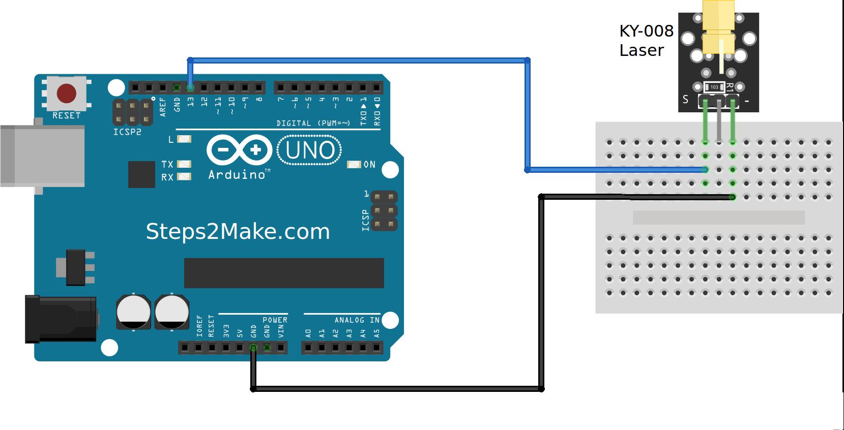 Arduino laser module ky steps make