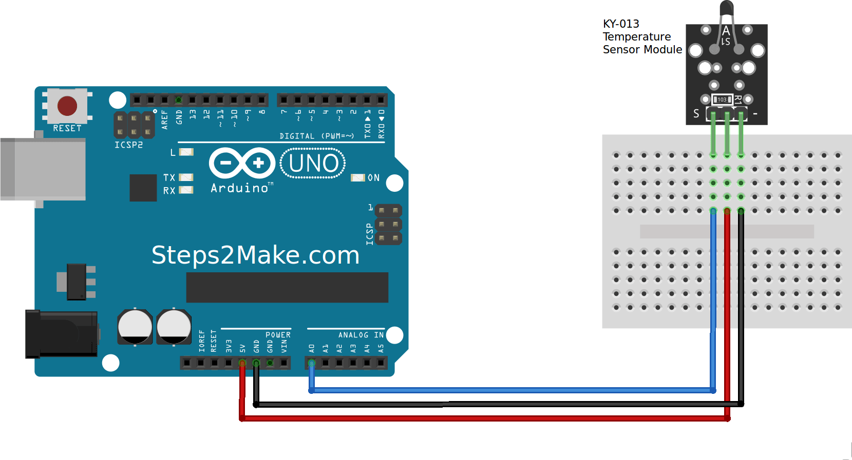 Figure 1: Arduino Connection with Temperature Sensor