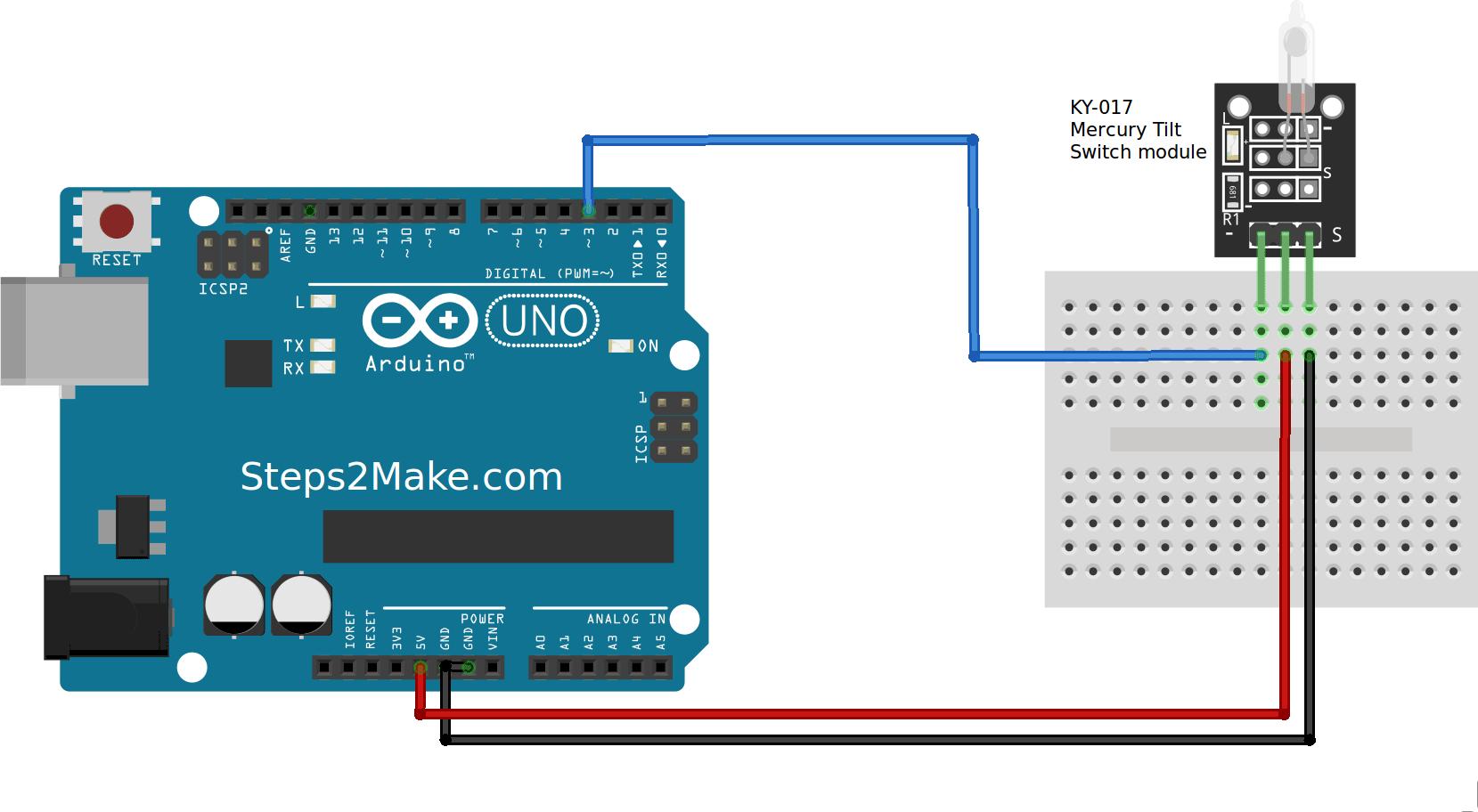 Arduino Mercury Tilt Switch Module Ky-017
